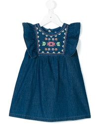 Knot Embroidered Denim Dress