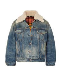 Gucci Appliqud Shearling Trimmed Denim Jacket