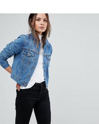 Asos Tall Asos Design Tall Denim Shrunken Jacket In Midwash Blue
