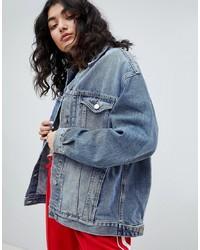 ASOS DESIGN Denim Girlfriend Jacket In Lightwash Blue