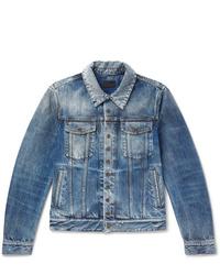 Saint Laurent Slim Fit Distressed Denim Jacket