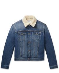Givenchy Slim Fit Shearling Trimmed Denim Jacket