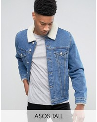 Asos Tall Denim Jacket With Fleece Collar In Mid Wash