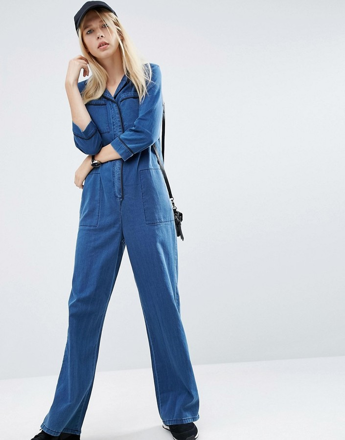 99010c04ca62 Asos Denim Wide Leg Pajama Jumpsuit .
