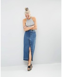 Asos Denim Deconstructed Midi Skirt In Mid Wash Blue