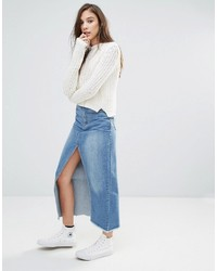 Pull&Bear Denim Midi Skirt With High Split Front