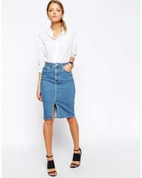 Asos Denim Split Front Midi Pencil Skirt In Midwash Blue