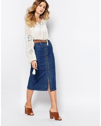 First I Denim Midi Skirt