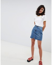 ASOS DESIGN Denim Pelmet Skirt In Midwash Blue