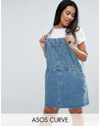 Asos Curve Curve Denim Overall Dress In Mid Wash Blue