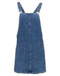Topshop True Pin Denim Dress Blue Denim