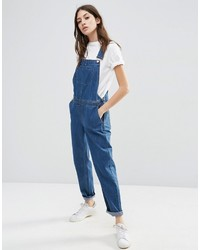 Asos Collection Denim Overall In Stonewash Blue