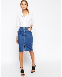 Asos Collection Denim Split Front Midi Pencil Skirt In Midwash Blue