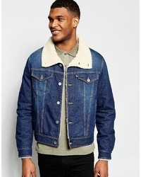 Denim jacket shearling collar medium 1148491