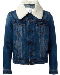 Shearling collar denim jacket medium 1148488