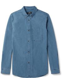 A.P.C. Button Down Collar Denim Shirt