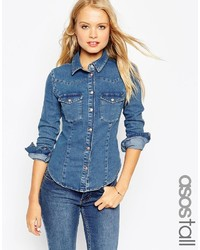 Asos Tall Denim Fitted Western Shirt In Mid Wash Blue