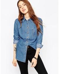 Asos Collection Denim Slim Fit Shirt In Retro Blue Wash