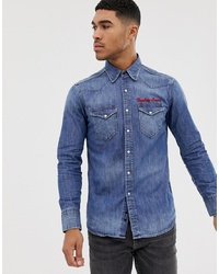 Replay Embroidered Denim Shirt In Blue