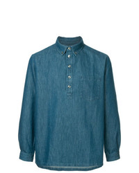 A.P.C. Half Button Denim Shirt