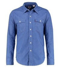 Orange Tab Shirt Baby Blue Denim