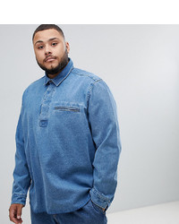 ASOS DESIGN Plus Oversized Denim Overhead Shirt In Mid Wash
