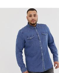 ASOS DESIGN Plus Stretch Slim Denim Western Shirt In Mid Wash
