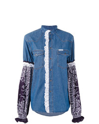 Forte Dei Marmi Couture Printed Sleeve Denim Shirt