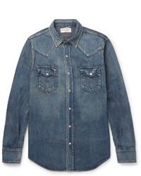 Saint Laurent Slim Fit Washed Denim Western Shirt