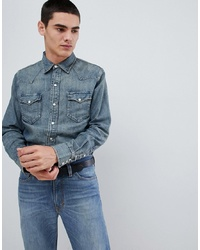 Polo Ralph Lauren Slim Fit Denim Western Shirt In Mid Wash