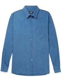 A.P.C. Slim Fit Indigo Dyed Cotton Shirt
