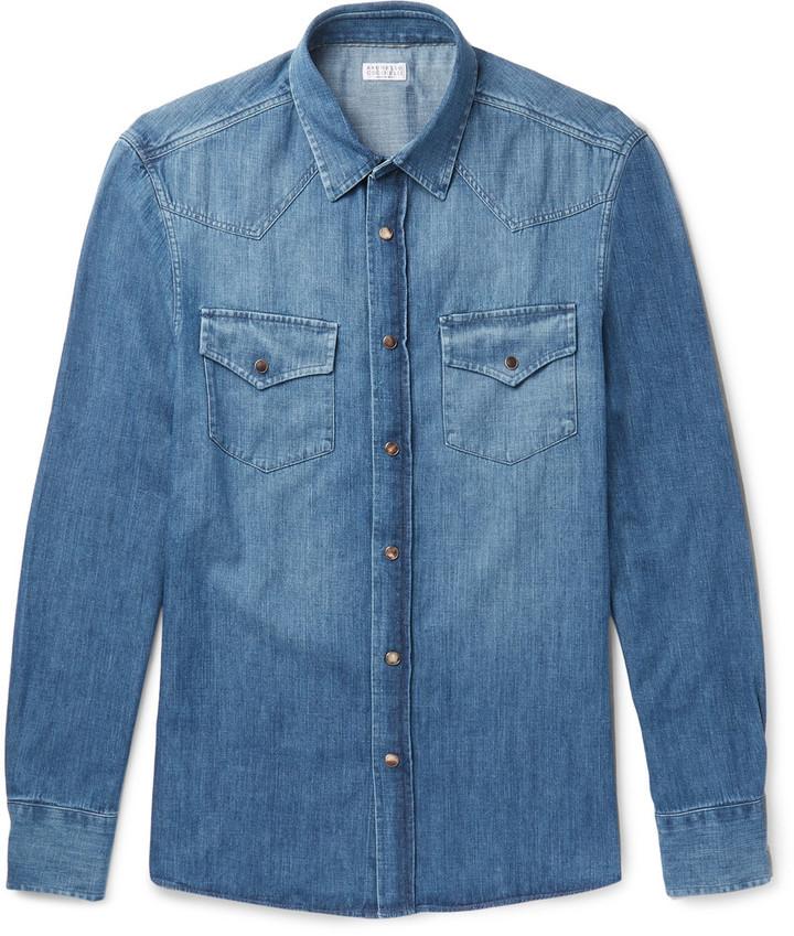 ... Brunello Cucinelli Slim Fit Washed Denim Shirt ...