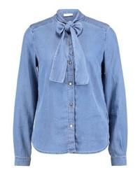Vila Vibista Bow Shirt Light Blue Denim