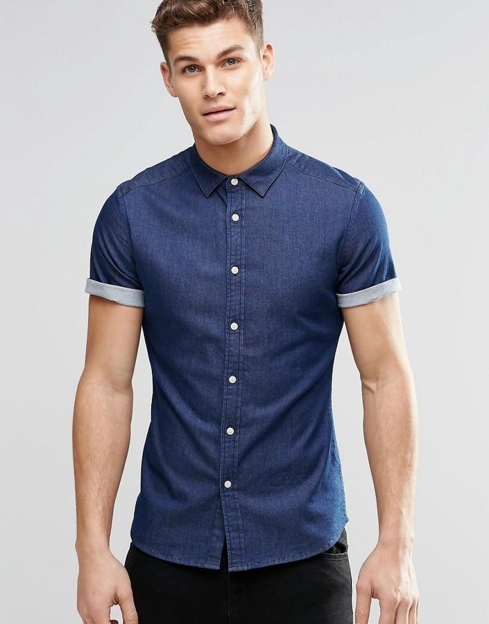 ee4c4ff138f ... Asos Brand Skinny Denim Shirt In Rinse Wash With Short Sleeves ...