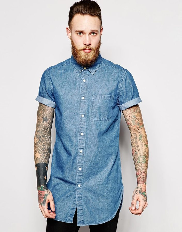 17a7a0f72e5 ... Asos Brand Super Longline Denim Shirt In Short Sleeve With Mid Wash ...