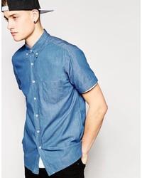 Hoxton Denim Shirt Dark Denim Short Sleeve