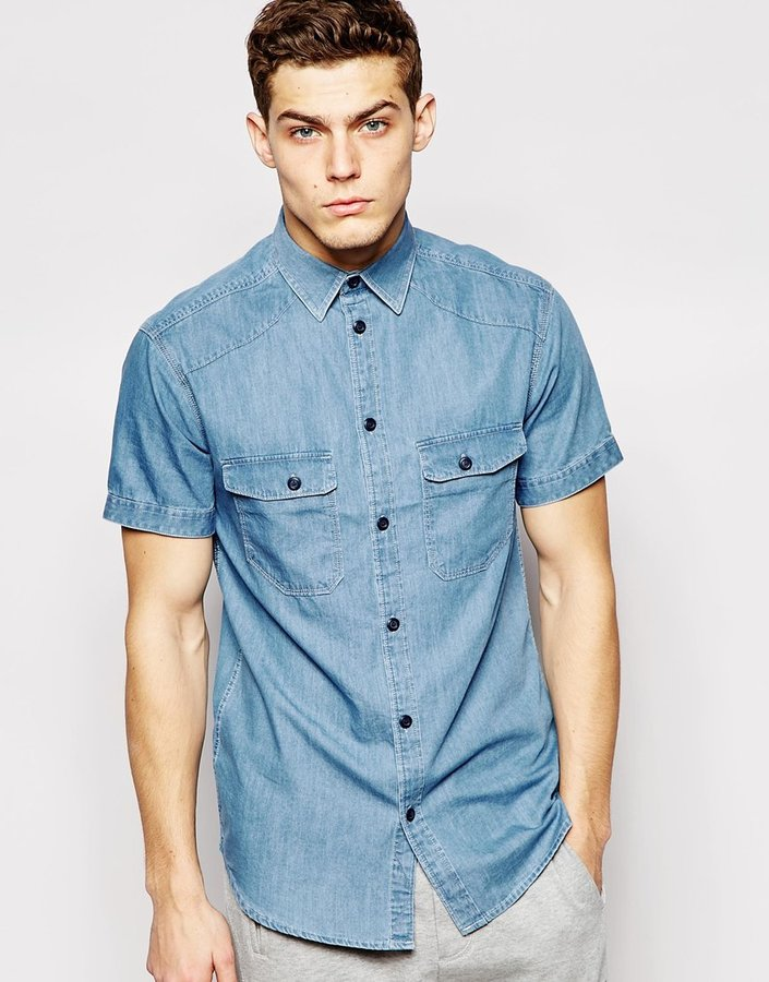 ... Blue Denim Short Sleeve Shirts Jack and Jones Jack & Jones Short Sleeve  Denim Shirt