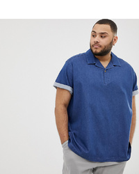 ASOS DESIGN Plus Oversized Boxy Stretch Denim Shirt