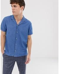 Burton Menswear Revere Denim Shirt In Blue Wash