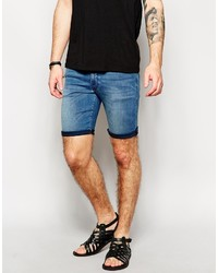 Asos Brand Denim Shorts In Extreme Super Skinny Fit Mid Length