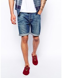 Asos Brand Denim Shorts In Slim Fit Mid Wash