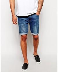 Asos Brand Denim Shorts In Super Skinny Fit Mid Length