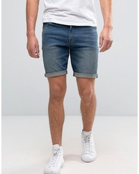 Asos Denim Shorts In Skinny 125oz Dark Wash Vintage Blue