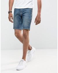 Asos Denim Shorts In Skinny Dark Wash Blue Biker With Zip Detail