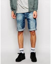 Replay Denim Shorts Straight Fit Mid Distress Wash