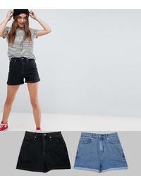 Asos Design Denim Mom Short In Washed Black And Mid Blue 2 Pack