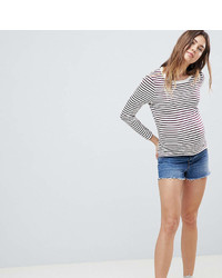 Asos Maternity Design Maternity Denim Short With Raw Hem In Vintage Blue