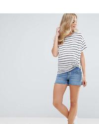 Asos Maternity Maternity Denim Side Split Shorts In Phoebe Wash