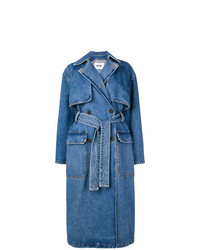 MSGM Double Breasted Denim Trench Coat