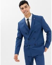 Farah Smart Farah Henderson Skinny Fit Double Breasted Suit Jacket In Blue